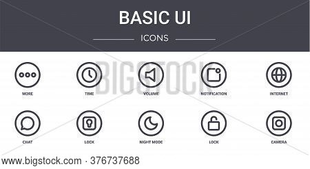 Basic Ui Concept Line Icons Set. Contains Icons Usable For Web, Logo, Ui Ux Such As Time, Notificati
