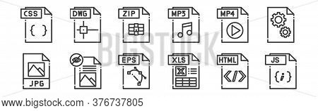 12 Set Of Linear File Type Icons. Thin Outline Icons Such As Js File, Xls File, File, Mp Zip Dwg For