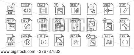 File Type Line Icons. Linear Set. Quality Vector Line Set Such As Css File, File, Jpg Tiff, Zip Flv