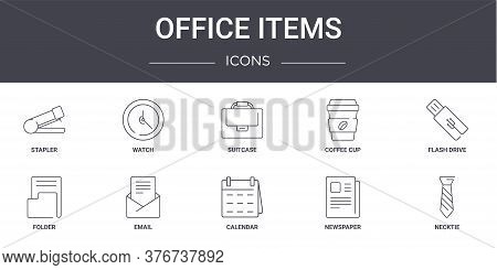 Office Items Concept Line Icons Set. Contains Icons Usable For Web, Logo, Ui Ux Such As Watch, Coffe