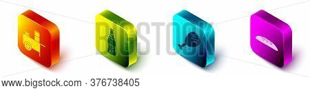 Set Isometric Fast Street Food Cart, Bottle Of Water, Chicken Leg And Bread Loaf Icon. Vector