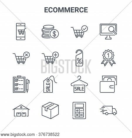 Set Of 16 Ecommerce Concept Vector Line Icons. 64x64 Thin Stroke Icons Such As Dollar Coins, Shoppin