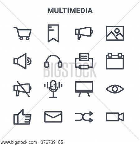 Set Of 16 Multimedia Concept Vector Line Icons. 64x64 Thin Stroke Icons Such As Tag, Sound, Calendar
