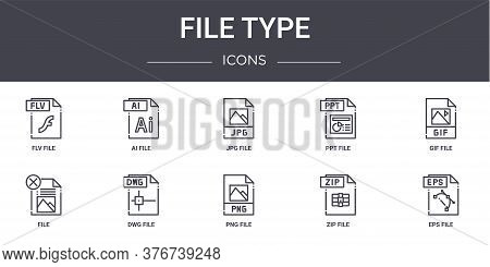 File Type Concept Line Icons Set. Contains Icons Usable For Web, Logo, Ui Ux Such As Ai File, Ppt Fi