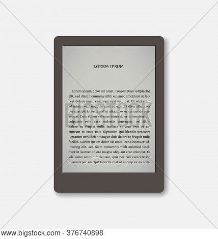 Vector Illustration Of A Portable Modern Tablet Pc E-book Reader. For Reading Book. Vector E-reader