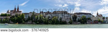 A Panorama View Of The Historic Old Town Of Basel On The Rhine