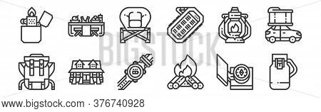12 Set Of Linear Camping Icons. Thin Outline Icons Such As Flask, Campfire, Cabin, Oil Lamp, Folding