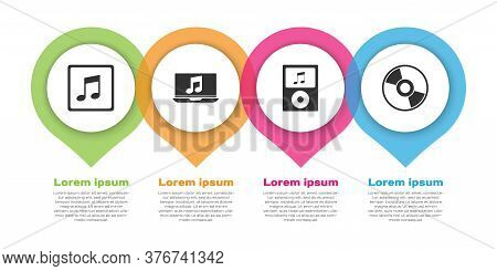 Set Music Note, Tone, Laptop With Music Note, Music Player And Cd Or Dvd Disk. Business Infographic