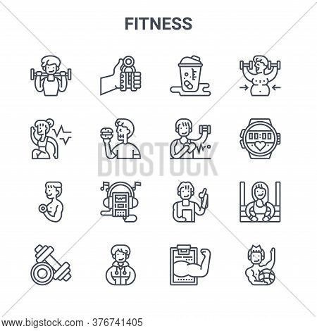 Set Of 16 Fitness Concept Vector Line Icons. 64x64 Thin Stroke Icons Such As Hand Grip, Cardio, Spor
