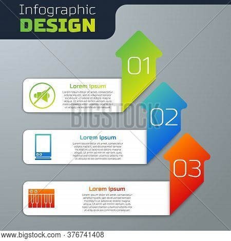 Set Speaker Mute, Voice Assistant And Music Synthesizer. Business Infographic Template. Vector