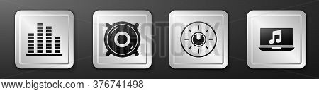 Set Music Equalizer, Stereo Speaker, Dial Knob Level Technology Settings And Laptop With Music Note