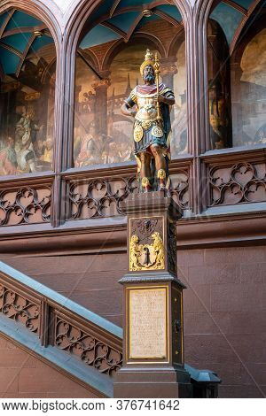 Basel, Bl / Switzerland - 8 July 2020: View Of The Courtyard And Statue Inside The City Hall Of Base