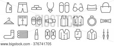 Fashion Line Icons. Linear Set. Quality Vector Line Set Such As Earrings, Watches, Shoes, Sock, Ring