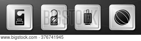 Set Please Do Not Disturb, Please Do Not Disturb, Suitcase And Beach Ball Icon. Silver Square Button