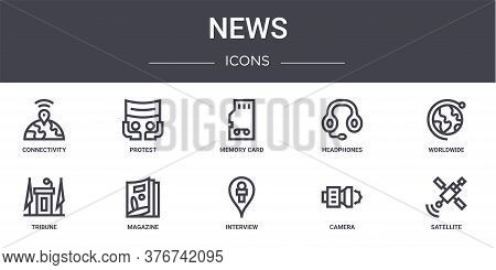 News Concept Line Icons Set. Contains Icons Usable For Web, Logo, Ui Ux Such As Protest, Headphones,