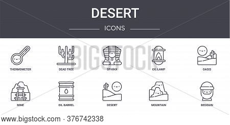 Desert Concept Line Icons Set. Contains Icons Usable For Web, Logo, Ui Ux Such As Dead Tree, Oil Lam