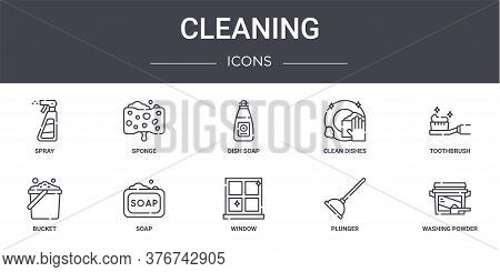 Cleaning Concept Line Icons Set. Contains Icons Usable For Web, Logo, Ui Ux Such As Sponge, Clean Di