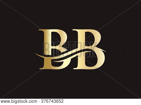 Initial Gold Letter Bb Logo Design With Black Background. Beautiful Kb Logo Type For Luxury Branding
