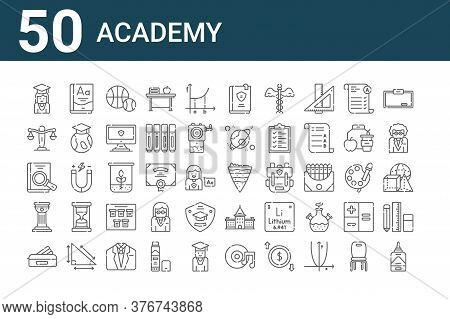 Set Of 50 Academy Icons. Outline Thin Line Icons Such As Liquid Glue, Pencil Case, History, Book, La