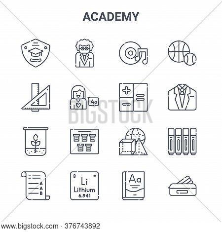 Set Of 16 Academy Concept Vector Line Icons. 64x64 Thin Stroke Icons Such As Teacher, Ruler, Uniform