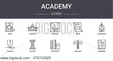 Academy Concept Line Icons Set. Contains Icons Usable For Web, Logo, Ui Ux Such As Academy, Exam, Al
