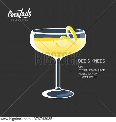 Bees Knees Cocktail Drink Lemon Twist Honey Illustration