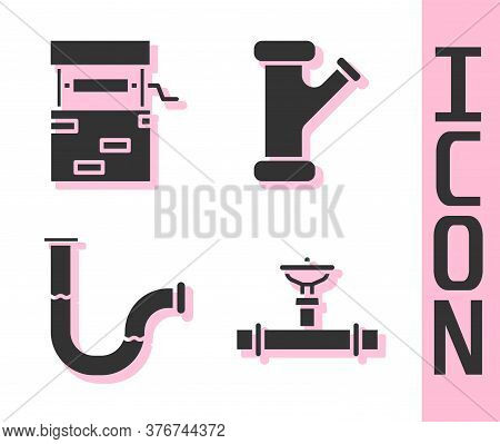 Set Industry Pipe And Valve, Well, Industry Metallic Pipe And Industry Metallic Pipe Icon. Vector