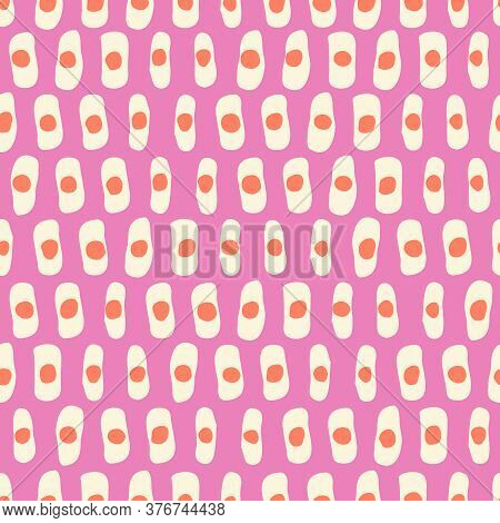Hand-drawn Geo Organic Cream Lines, Dots, Stripes Vector Seamless Pattern. Modern Colorful Pink Abst
