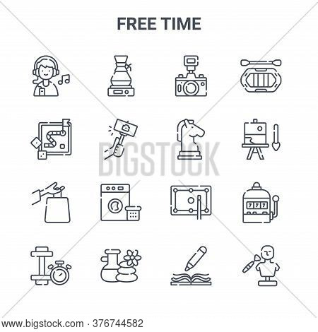 Set Of 16 Free Time Concept Vector Line Icons. 64x64 Thin Stroke Icons Such As Coffee Machine, Board