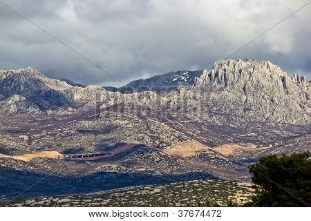 A1 Highway Croatia - Velebit mountain road under Tulove grede peak poster