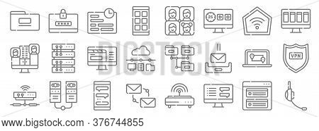 Telecommuting Line Icons. Linear Set. Quality Vector Line Set Such As Headphones, Chat Box, Email, M