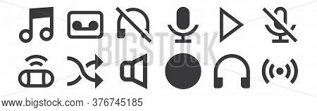 12 Set Of Linear Music Icons. Thin Outline Icons Such As Cast, Stop, Shuffle, Play, Sound Off, Casse