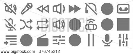 Music Line Icons. Linear Set. Quality Vector Line Set Such As Tune, Pause, Tune, Add To Playlist, Pl