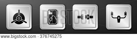 Set Plane Propeller, Airplane Window, Safety Belt And Aircraft Steering Helm Icon. Silver Square But