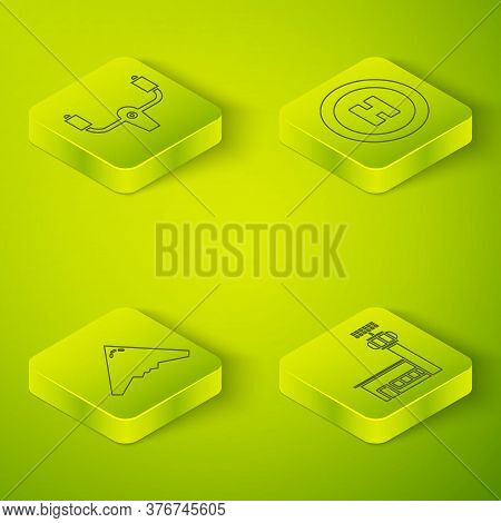 Set Helicopter Landing Pad, Jet Fighter, Airport Control Tower And Aircraft Steering Helm. Square Gl
