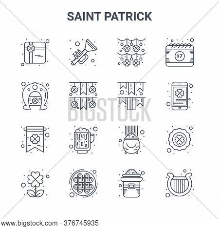 Set Of 16 Saint Patrick Concept Vector Line Icons. 64x64 Thin Stroke Icons Such As Horn, Horseshoe,