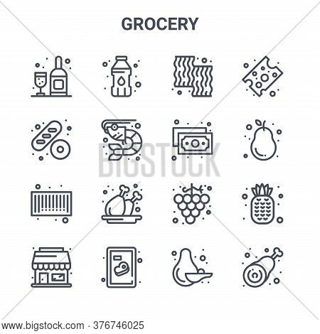 Set Of 16 Grocery Concept Vector Line Icons. 64x64 Thin Stroke Icons Such As Water Bottle, Baguette,