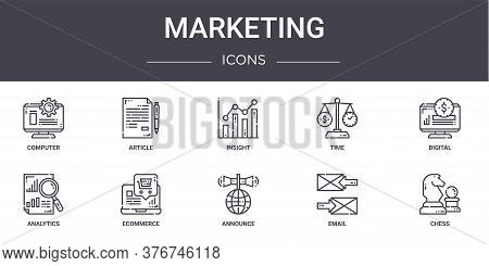 Marketing Concept Line Icons Set. Contains Icons Usable For Web, Logo, Ui Ux Such As Article, Time,