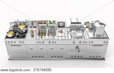 professional kitchen in modular steel with fresh food. catering concept. 3d render.