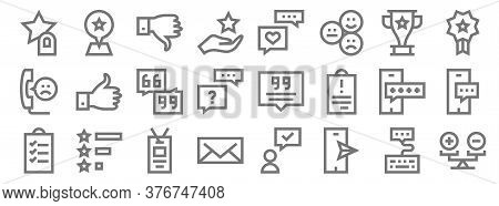 Feedback And Testimonials Line Icons. Linear Set. Quality Vector Line Set Such As Rate, Smartphone,