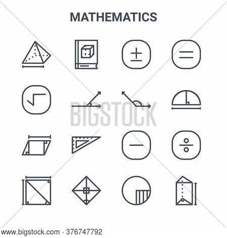 Set Of 16 Mathematics Concept Vector Line Icons. 64x64 Thin Stroke Icons Such As Book, Root, Circle,