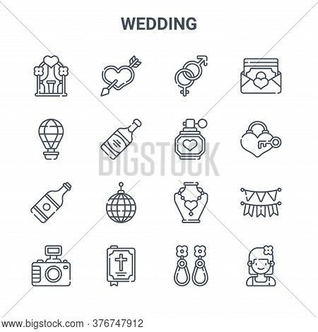 Set Of 16 Wedding Concept Vector Line Icons. 64x64 Thin Stroke Icons Such As Love, Hot Air Balloon,