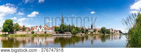 A Panorama View Of The City Of Ulm In Southern Germany With The Danube River In Front