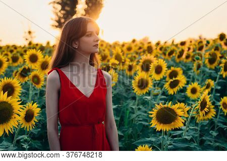 Woman With Red Dress In Sunflowers Field