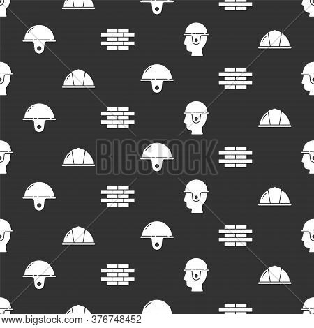Set Worker Safety Helmet, Worker Safety Helmet, Worker Safety Helmet And Bricks On Seamless Pattern.