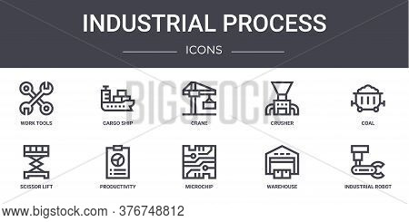 Industrial Process Concept Line Icons Set. Contains Icons Usable For Web, Logo, Ui Ux Such As Cargo