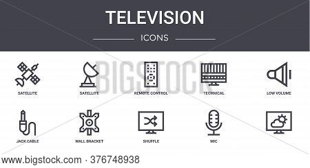 Television Concept Line Icons Set. Contains Icons Usable For Web, Logo, Ui Ux Such As Satellite, Tec