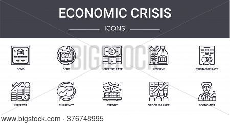 Economic Crisis Concept Line Icons Set. Contains Icons Usable For Web, Logo, Ui Ux Such As Debt, Res