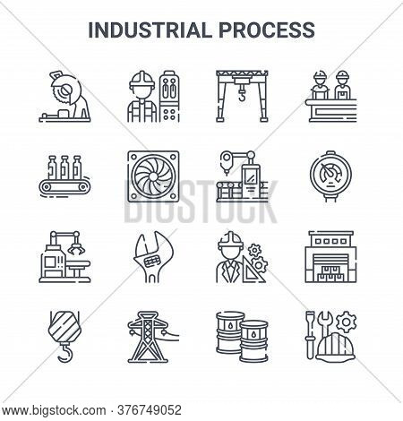 Set Of 16 Industrial Process Concept Vector Line Icons. 64x64 Thin Stroke Icons Such As Operator, Co
