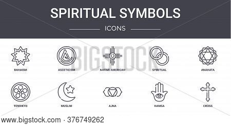 Spiritual Symbols Concept Line Icons Set. Contains Icons Usable For Web, Logo, Ui Ux Such As Ascetic